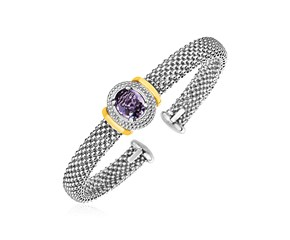 Popcorn Texture Cuff Bangle with Oval Amethyst in Sterling Silver and 18K Yellow Gold