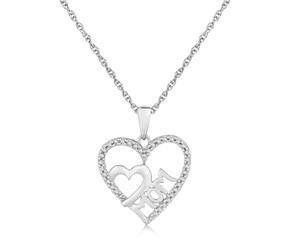 Dual Heart MOM Diamond Accented Pendant in Sterling Silver (.09 ct t.w.)