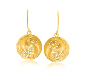 Clam Shell Mesh Design Dangling Earrings in 14k Yellow Gold