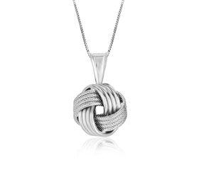 Love Knot Groove Texture Pendant in Sterling Silver