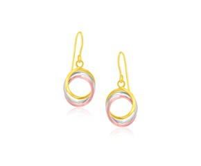 Interlaced Open Ring Drop Earrings in 14k Tri-Color Gold