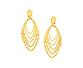 14k Yellow Gold Post Earrings with Marquise Shapes