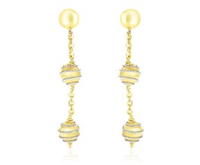 Chain and Coil Embellished Ball Earrings in 14k Two-Tone Gold