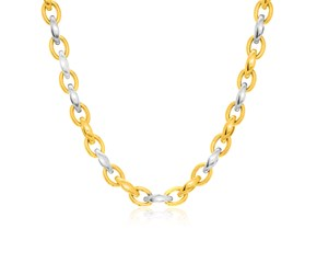 Graduated Oval Link Fancy Necklace in 14k Two-Tone Gold