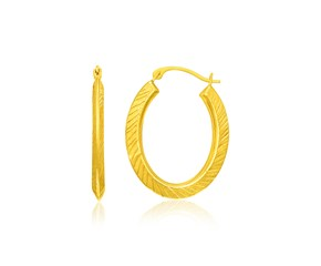 Textured Style Oval Hoop Earrings in 14k Yellow Gold