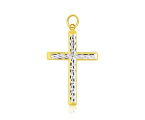 Diamond Cut Style Crucifix Pendant in 14k Two-Tone Gold