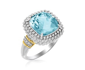 Popcorn Cushion Sky Blue Topaz and Diamond Ring in 18k Yellow Gold and Sterling Silver (.05cttw)
