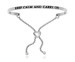 Stainless Steel Keep Calm And Carry On Adjustable Bracelet