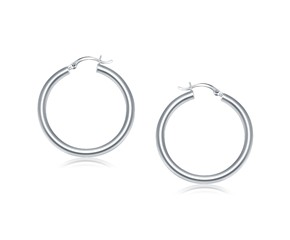 Classic Hoop Earrings in 14k White Gold (40mm Diameter) (4.0mm)