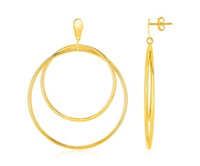 14k Yellow Gold Post Earrings with Open Polished Circle Dangles
