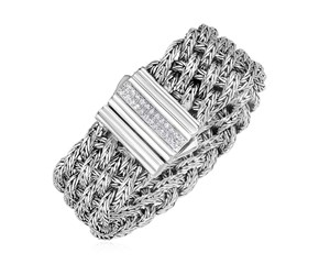 Double Woven Bracelet with White Sapphire Accented Clasp in Sterling Silver