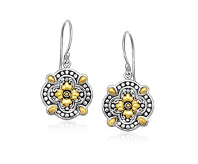 Floral Shape Textured Drop Earrings in 18k Yellow Gold and Sterling Silver