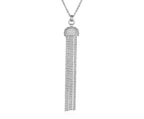Necklace with Half Round and Multi Chain Pendant in Sterling Silver