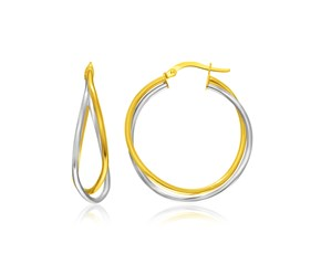 Double Row Entwined Hoop Earrings in 14k Two-Tone Gold
