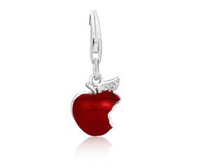 Bitten Apple Red Enameled Charm in Sterling Silver