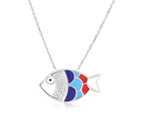 Sterling Silver 18 inch Necklace with Enameled Multicolored Fish
