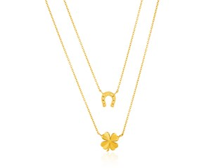 14k Yellow Gold Double-Strand Chain Necklace with Four-Leaf Clover and Horseshoe