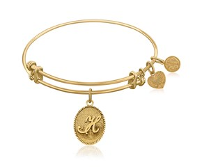 Expandable Yellow Tone Brass Bangle with Initial H Symbol