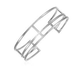 Textured Open Rectangle Motif Cuff Bangle in Sterling Silver