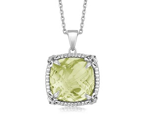 Fancy Square Green Amethyst with White Sapphires Fleur De Lis Pendant in Sterling Silver