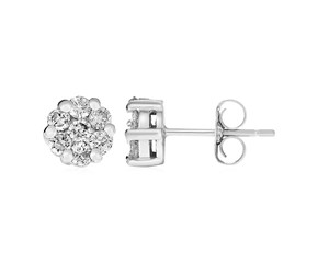 14k White Gold Post Earrings with Diamonds