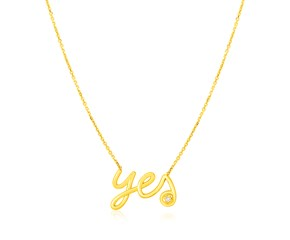 14K Yellow Gold Yes Necklace with Diamond