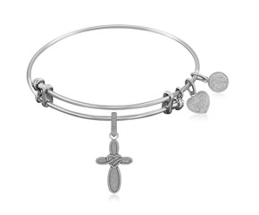 Expandable White Tone Brass Bangle with Cross with Heart Symbol