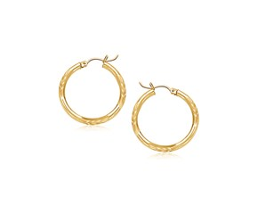 Diamond Cut Slender Small Hoop Earrings in 14k Yellow Gold (15mm Diameter)