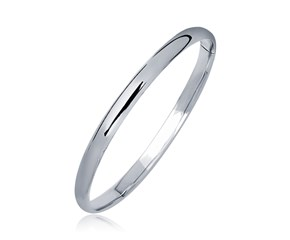 Dome Polished Children's Bangle in 14k White Gold