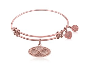 Expandable Pink Tone Brass Bangle with Infinity Unlimited Possibilities Symbol