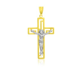 Crucifix Pendant with Figure in 14k Two-Tone Gold