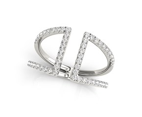 Fancy Dual Band Diamond Ring in 14k White Gold (1/2 cttw)