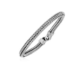 Wide Woven Rope Bracelet in Sterling Silver