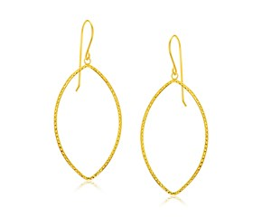Diamond Cut Marquise Shape Earrings in 14k Yellow Gold