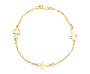 Symbolic Cross Bracelet in 14k Yellow Gold