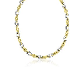 Smooth and Textured Oval Link Necklace in 14k Two-Tone Gold