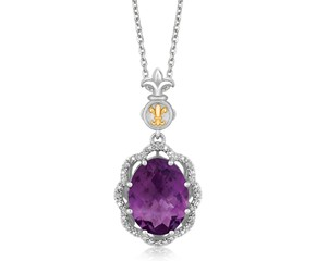 Ornate Oval Amethyst and Diamond Accented Fleur De Lis Motif Pendant in 18k Yellow Gold and Sterling Silver (.03 cttw)