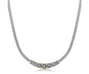 Diamond Accented Curved Bar Fancy Necklace in 18k Yellow Gold and Rhodium Plated Sterling Silver (.14cttw)