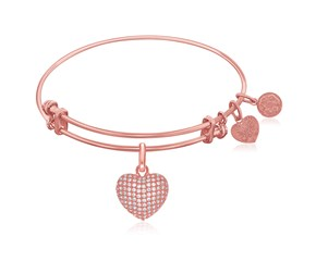Expandable Pink Tone Brass Bangle with Heart with Cubic Zirconia