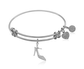 Expandable White Tone Brass Bangle with High Heels Shoe Symbol