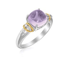 Square Amethyst Ring with Diamonds in 18K Yellow Gold and Sterling Silver
