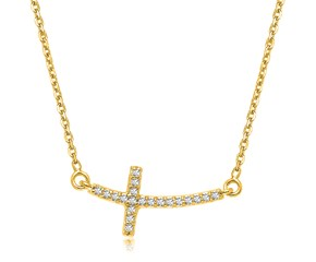 Curved Diamond Embellished Cross Necklace in 14k Yellow Gold (.11cttw)