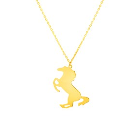 14K Yellow Gold Necklace with Horse