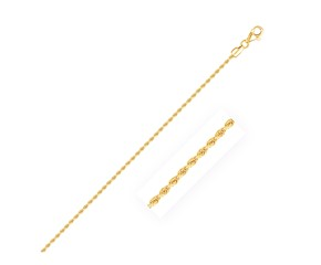 Diamond Cut Rope Anklet in 10k Yellow Gold (2.0 mm)