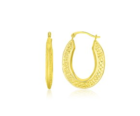 Weave Pattern Oval Hoop Earrings in 10k Yellow Gold