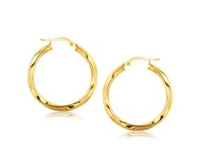 Classic Twist Hoop Earrings in 14k Yellow Gold (1 inch Diameter)