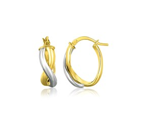 Intertwined Oval Hoop Earrings in 14k Two Tone Gold