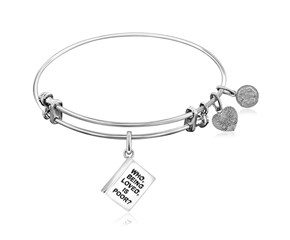 Expandable White Tone Brass Bangle with Who Being Loved is Poor Symbol