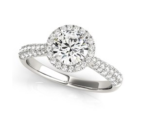 14k White Gold Halo Round Diamond Engagement Ring with Graduated Pave Band (1 1/3 cttw)