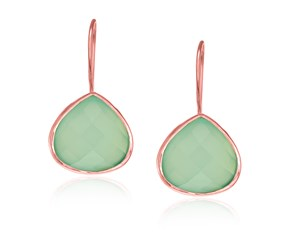 Faceted Aqua Chalcedony Teardrop Earrings in Rose Gold Plated Sterling Silver